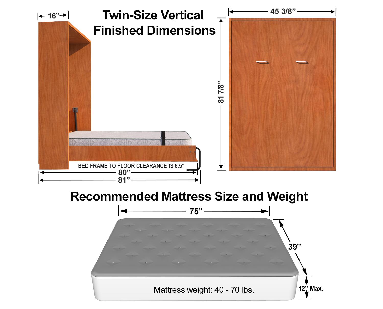 Vertical Twin Single Size Kit Easy Diy Murphy Bed