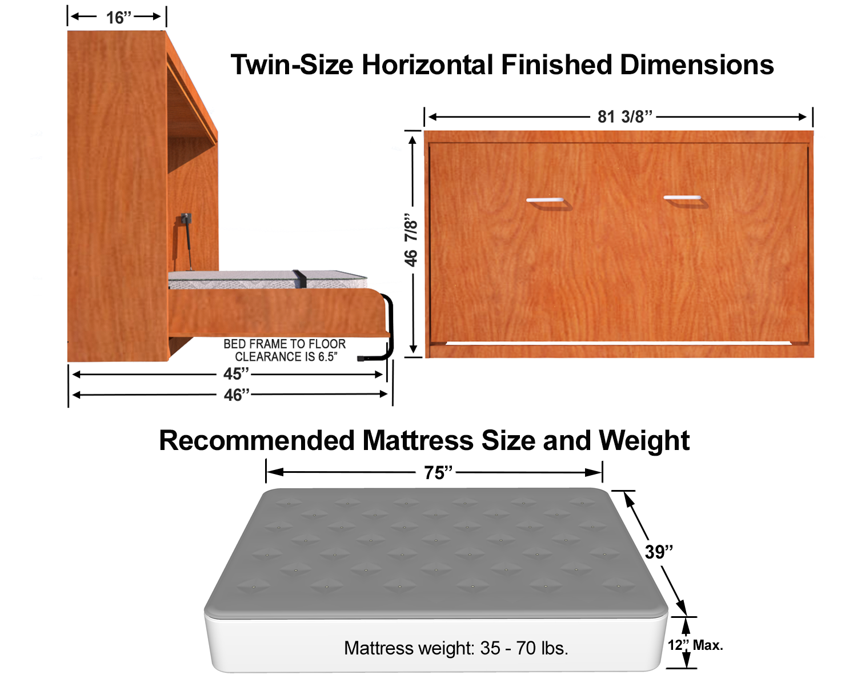 Horizontal Twin Single Size Kit Easy Diy Murphy Bed