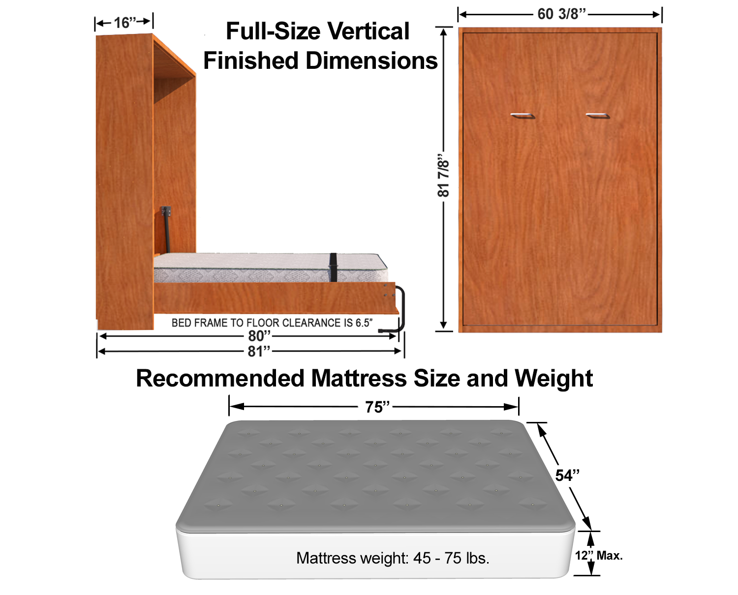 Vertical Full Double Size Kit Easy Diy Murphy Bed