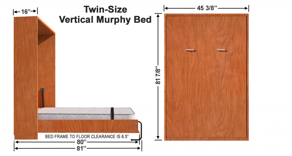 Vertical Wall Mount Murphy Bed Twin Size