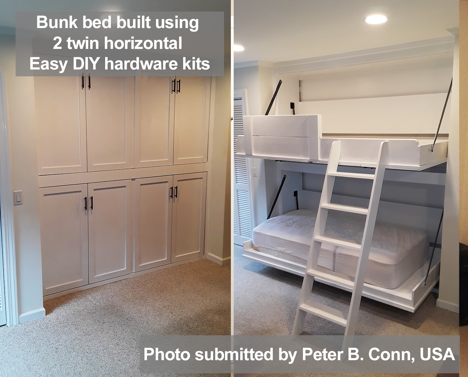 Picture of: Horizontal Twin Single Size Kit Easy Diy Murphy Bed