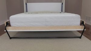 Queen size wall Murphy bed with leg cross bar installed