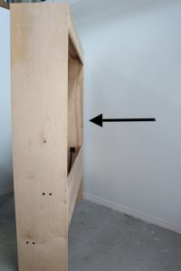 wall bed cabinet away from the wall
