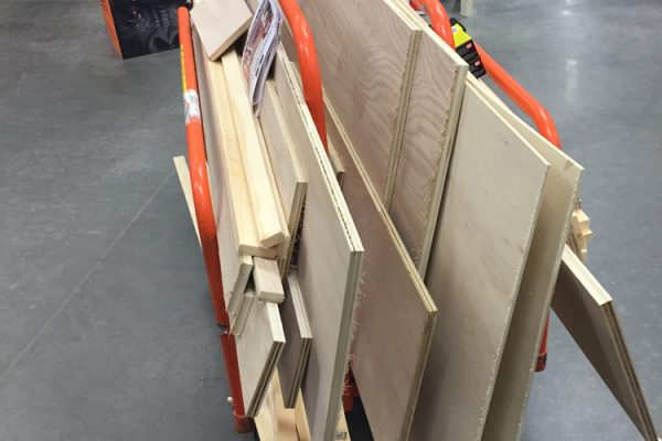 Cutting lumber at home depot for diy wall bed project