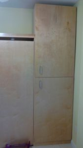 Plywood murphy bed with side storage