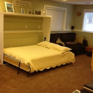 Complete murphy bed with mattress and pillows