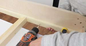 Attaching wall bed hardware to side rails step 2