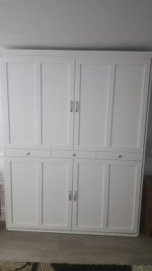 close up of white diy murphy bed in kids room