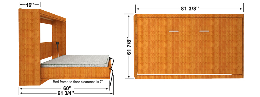 double size horizontal wall mount wall bed