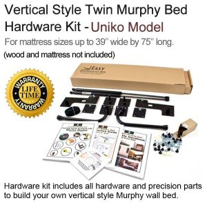 Twin vertical wall bed hardware kits