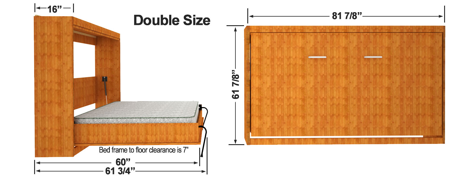 Double Size Horizontal Wall Bed Cabinet Dimensions
