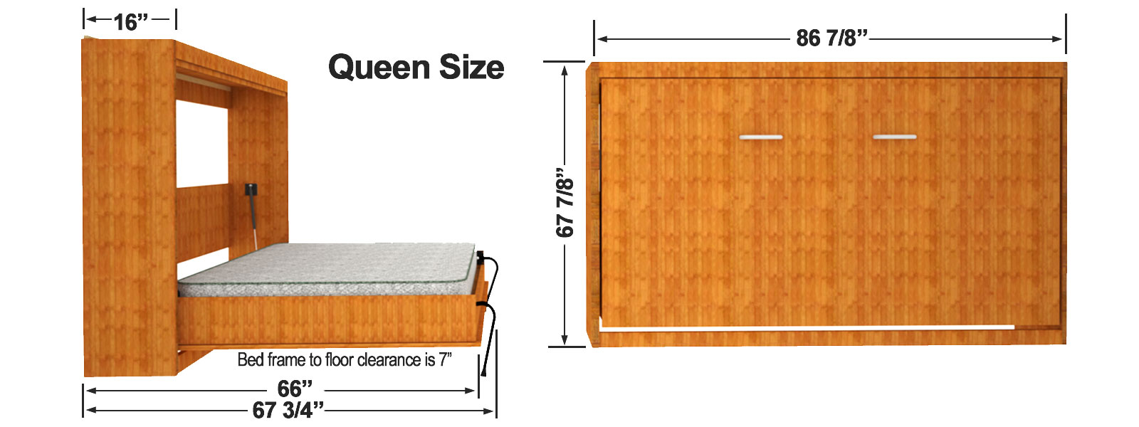 Queen Size Horizontal Wall Bed Cabinet Dimensions
