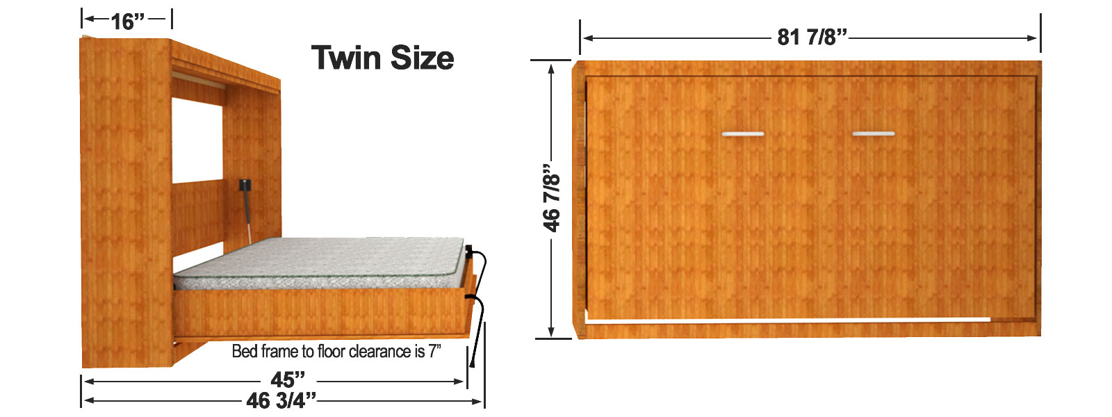 Twin Size Horizontal Wall Bed Cabinet Dimensions