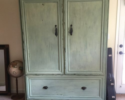 custom milk paint wallbed cabinet in room