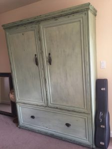 side view of milk paint on murphy bed diy project
