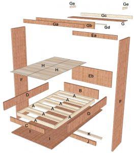 Queen size Murphy bed parts diagram