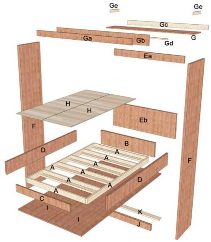 Queen size Murphy bed parts diagram