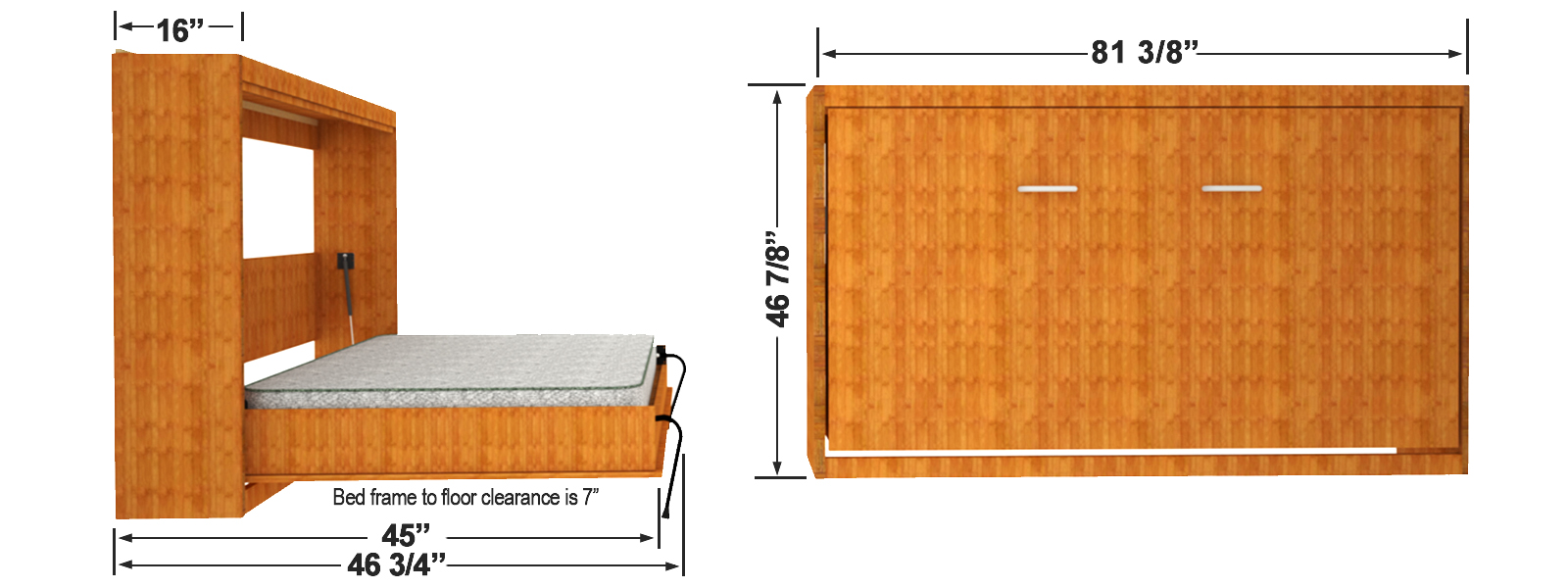 Single size wall bed finished dimensions
