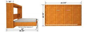 single size horizontal wall mount wall bed