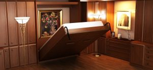complete wall bed in brown wood