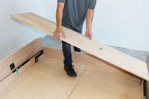 Taking away lower header board on DIY Murphy bed