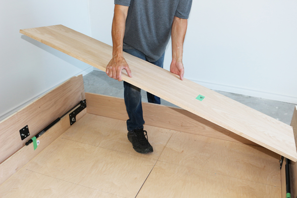 Taking away lower header board on DIY Murphy bed