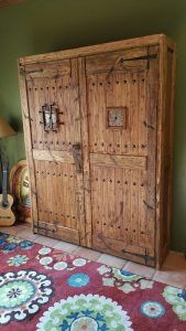 wall bed in oak finish