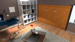 Sideways mount Murphy bed in bedroom