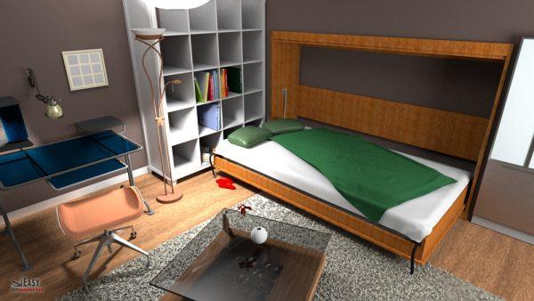 Murphy bed opened in bedroom